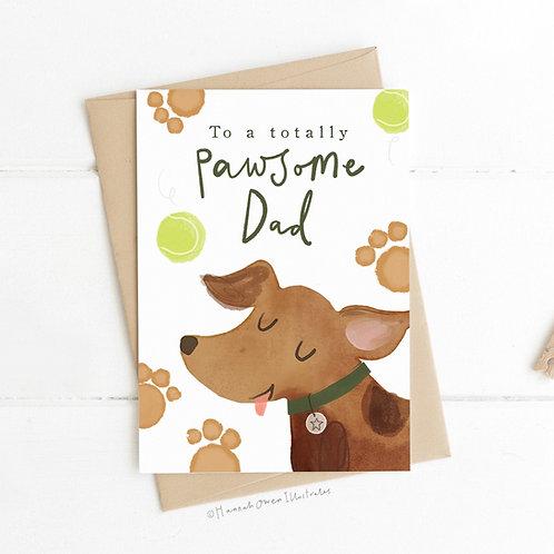 'Pawsome Dad' Dog Father's day card