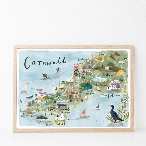 Illustrated map of Cornwall