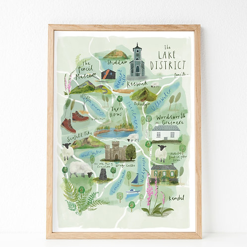 Illustrated map of Lake District