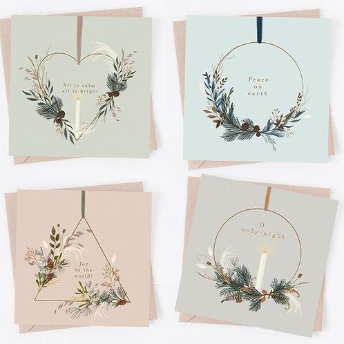 Festive wreaths - Illustrated Christmas card pack