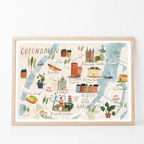 Illustrated map of Copenhagen