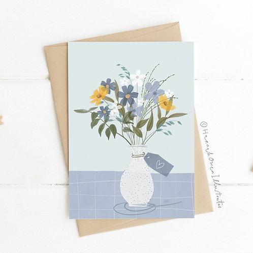 Blue bouquet blank card