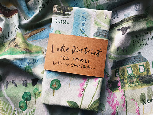 Map of the Lake District Tea Towel