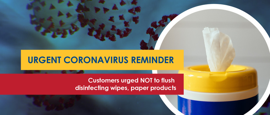 Customers urged NOT to flush disinfecting wipes, paper products