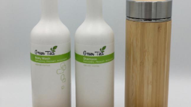 Set O'right: Green Tea 400ml shampoo & bodywash + Bamboo thermos en eco-bag