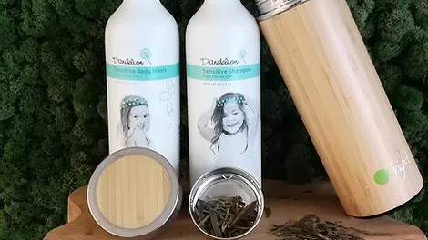 Set O'right: Dandellion 400ml shampoo & bodywash + Bamboo thermos en eco-bag