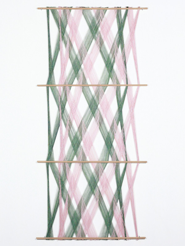Double Feed Hanging.  2019.  Mixed thread and wood.  190x90x3cm.