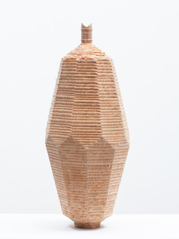 Facet Vessel 1.  2020.  Chainsaw carved and turned, green ash.  43cm tall.