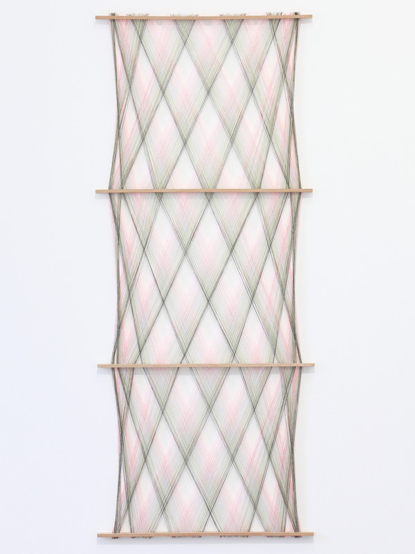 Five Phase Hanging.  2018.  Mixed yarn and wood.  190x80x3cm.