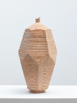Facet Vessel 2.  2020.  Chainsaw carved and turned, green ash.  34cm tall.