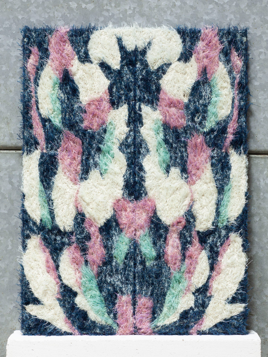 Bookmatched Slab.  Series of 5. No.1. Blue, turquoise, pink.  2019.  Plaster and thread.  54 x 40 x 3cm.