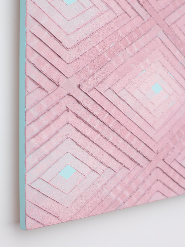 Pink on turquoise No.1.  2019.  Detail.