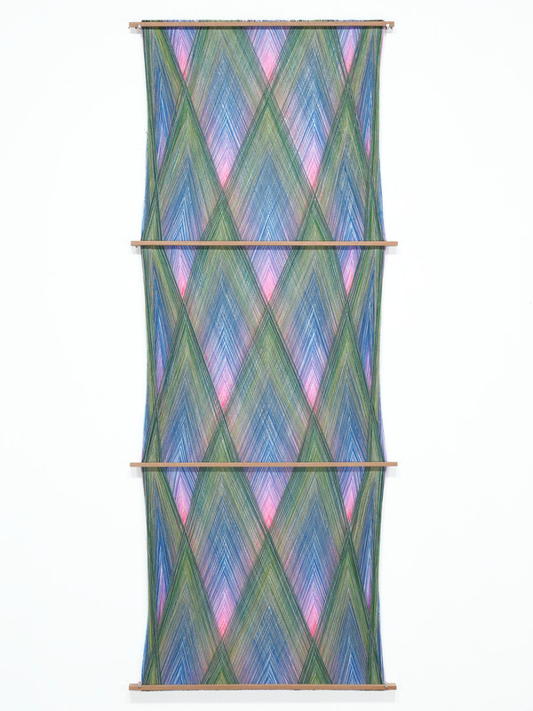 Three Phase Hanging.  2020.  Mixed yarn and wood.  190x75x3cm.