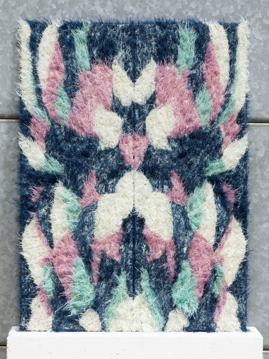 Bookmatched Slab.  Series of 5. No.2.  Blue, turquoise, pink.  2019.  Plaster and thread.  54 x 40 x 3cm.