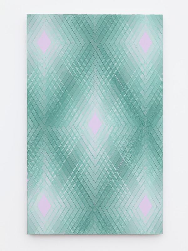 Green on violet No.2.  2019.  Lino monoprint.  Ink on plywood.  56x35cm