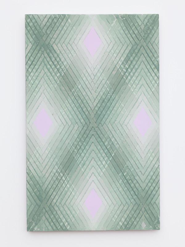 Green on violet No.1.  2019.  Lino monoprint.  Ink on plywood.  56x35cm
