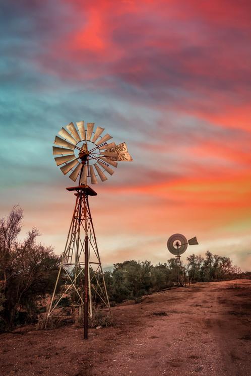 Sunset Silverton Windmills