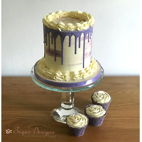 Cascading drip cake in a range of colours