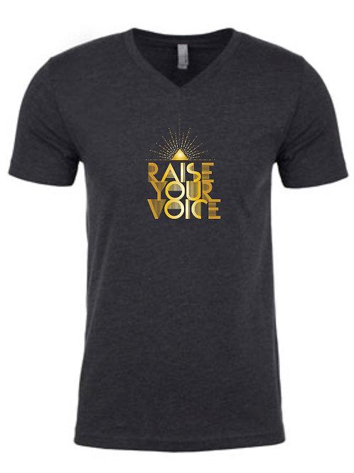 """""""Raise Your Voice"""" t-shirt, unisex v-neck (XL)"""