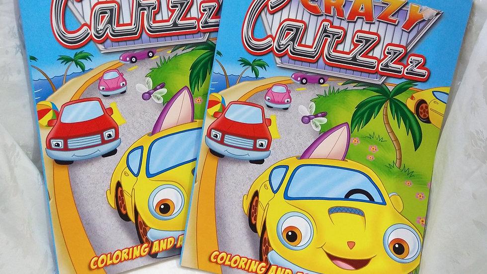 Libro para colorear y actividades Crazy Carzzz