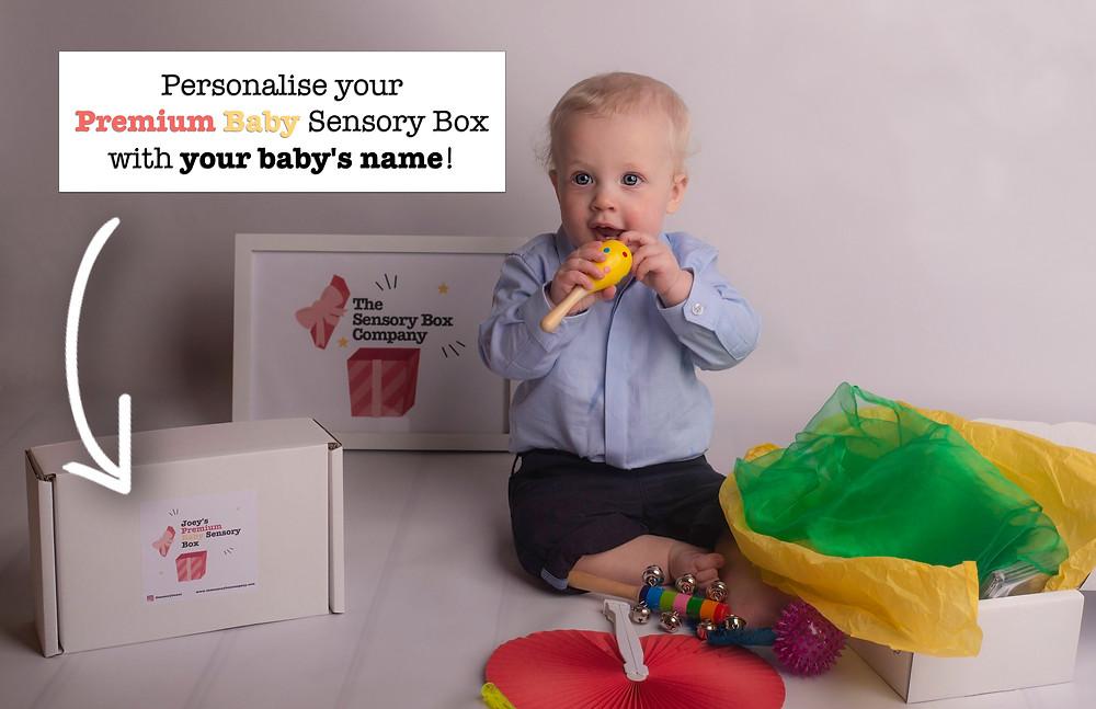 Joey and personalised premium baby sensory box
