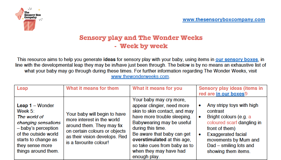 A sample of our Wonder Weeks & Sensory Play Worksheet
