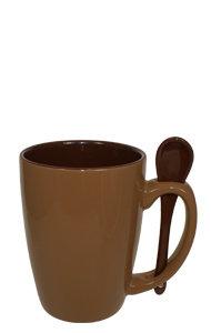Ceramic Tea Mug with Ceramic Spoon in Handle - 6 colors
