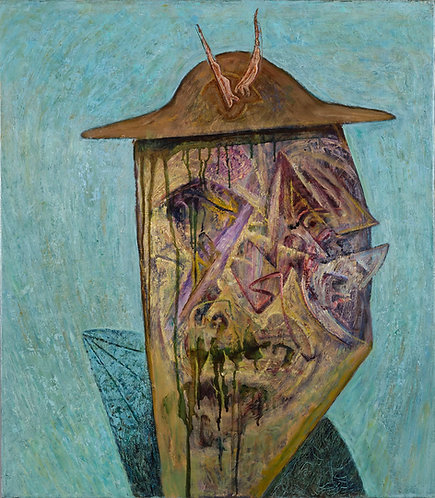 Grotesque portrait oil on canvas painting