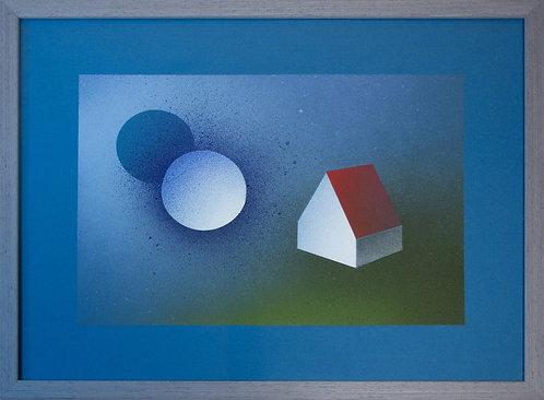 house spray paint and graphite on paper artwork Nikoletta Papakonstantinou original art