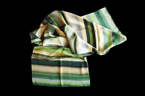 Silk scarf with green stripes