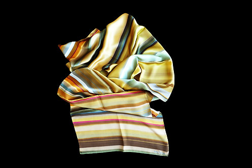 Silk scarf with brown beige stripes