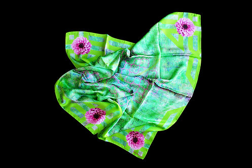 Silk scarf with floral pattern