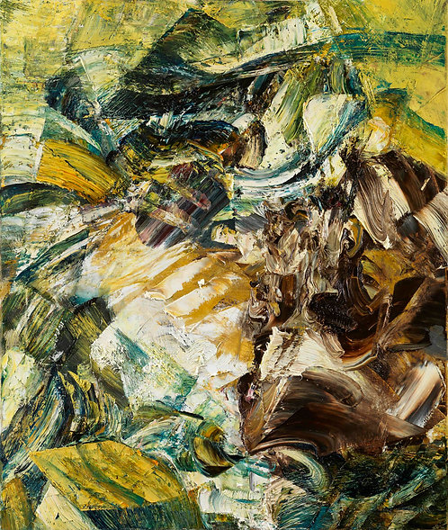 Nonrepresentational oil on canvas painting