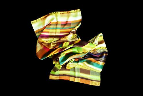 Silk scarf with yellow stripes