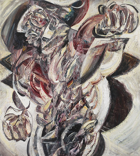 Human figure oil on canvas cubism painting