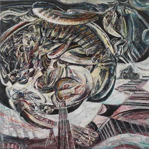Ouroboros oil on canvas cubism painting