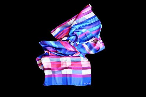 Silk scarf with blue pink purple stripes