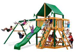 GPS-Chateau-Swing-Set-w-Timer-Shield-and-Deluxe-Green-Vinyl-Canopy