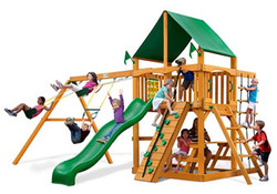 GPS-Chateau-Swing-Set-w-Amber-Posts-and-Deluxe-Green-Vinyl-Canopy