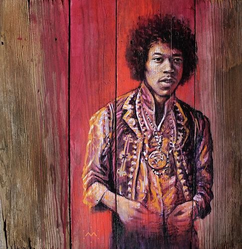 JIMI RED - original painting - 17'' x 17''