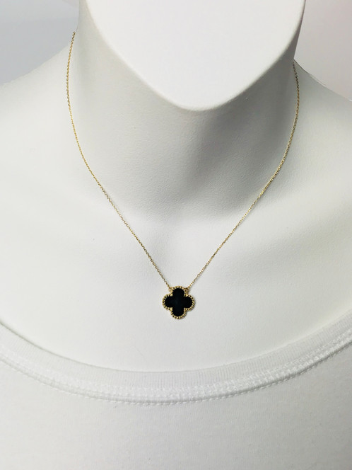 14k onyx clover pendant necklace aloadofball Image collections