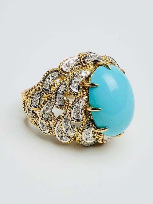 14k Gold Turquoise Diamond Ring jewelenvy