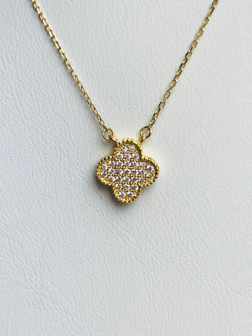 14k gold petite clover pendant necklace 14k yellow gold petite clover necklace features a 97mm clover with sparkling cubic zirconia stones 19 long 15 grams aloadofball Image collections