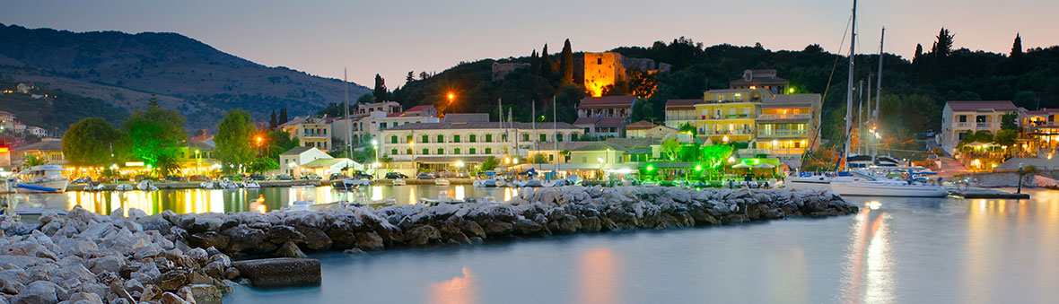 Kassiopi Harbour at Night 1