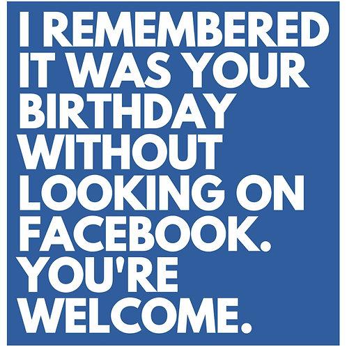Facebook Remember card