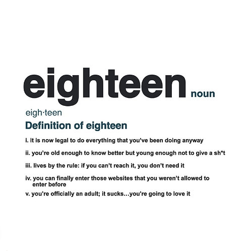 Eighteen Definition card