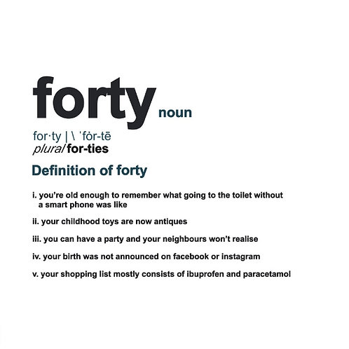 Forty Definition card