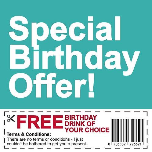 Birthday Drink Voucher card