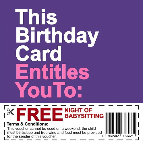Birthday Babysitting Voucher card