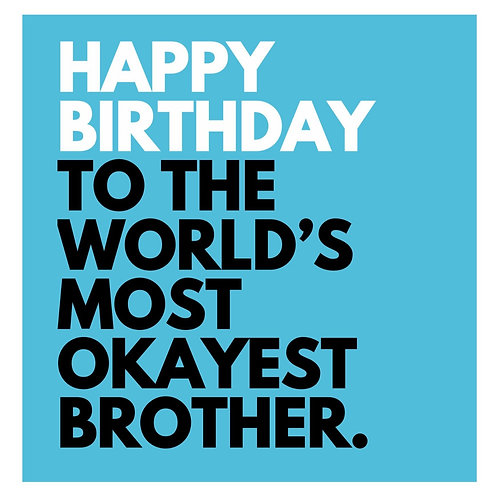 World's Okayest Brother card